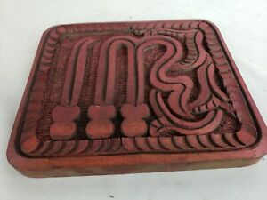 Great Vintage Hand Carved Wood Plaque Thai Ca 1950s