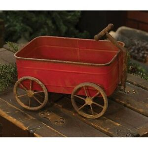 New Primitive Country Rustic Antique Style Rusty Red Wagon Cart Wheels