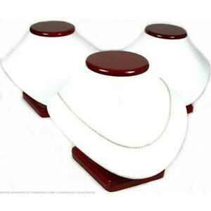 3 White Faux Leather Rosewood Finish Necklace Displays