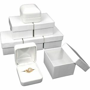 White Faux Leather Ring Gift Box Jewelry Showcase Displays Kit 144 Pcs