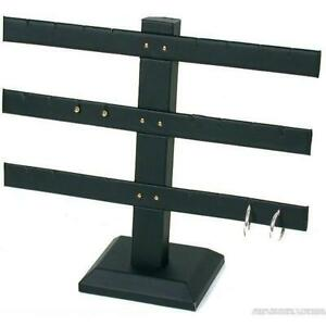 Black Faux Leather 3 Tier T Bar Earring Jewelry Display Stands Kit 6 Pcs