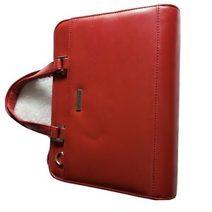 Franklin Covey Red Leather Binder planner Organize inserts Zip Up Satchel Purse