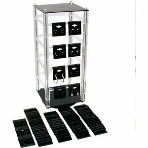 Revolving Rotating Earring Jewelry Display Stand With 100 2 Black