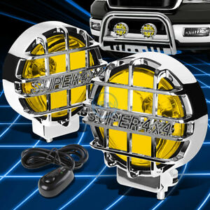 6 Universal Off road Style 4x4 Chrome Guard Yellow Round Fog Light Lamp switch