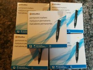 Office Max 12 Pack Permanent Markers New Chisel 3 Line Widths Black Lot Of 5