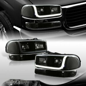 For 2000 2006 Gmc Yukon Xl 1500 2500 Drl Led Black Smoke Headlights Bumper Lamps
