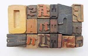 Letterpress Letter Wood Type Printers Block lot Of 17 Typography bc 1120