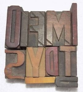 Letterpress Letter Wood Type Printers Block lots Of 11 Typography bc 6038