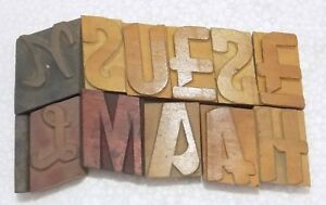 Letterpress Letter Wood Type Printers Block lots Of 12 Typography bc 6040