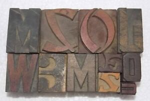 Letterpress Letter Wood Type Printers Block lots Of 11 Typography bc 6041