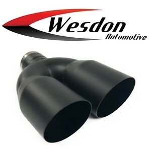 Exhaust Tip 2 25 In Inlet Dual 3 50 Dia Outlet 10 00 Black Wdsw350010 225 Bk Ss