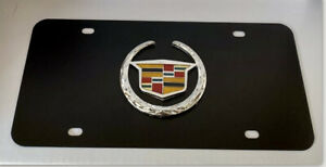 Cadillac 3d Classic Logo On Black Stainless Steel Metal Auto License Plate