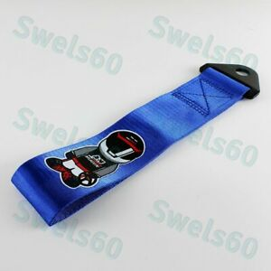 Tow Belt Strap Blue For Jdm Mugen Racing Drift Rally Car Towing Recovery Hook