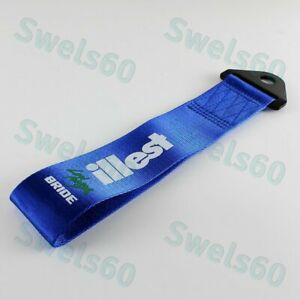 Tow Strap Front Or Rear Bumper For Jdm Bride Illest High Strength Hook Blue