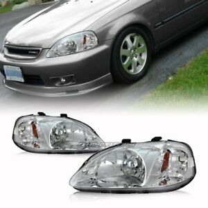For 1999 2000 Honda Civic Jdm Chrome Housing Headlights W Amber Reflector Lamps