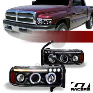 For 1994 2001 Dodge Ram Black Led Halo Projector Headlights Signal Lamps Amber