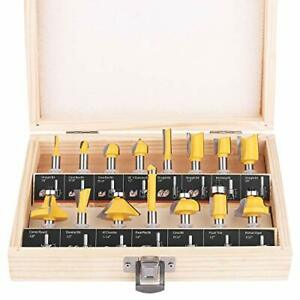 Kowood Router Bits Set Of 15 Pieces 1 4 Inch Woodwork Tools For Beginners