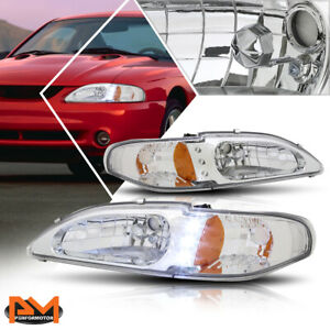 For 94 98 Ford Mustang Led Drl Headlight Lamp Chrome Housing Amber Corner Pair