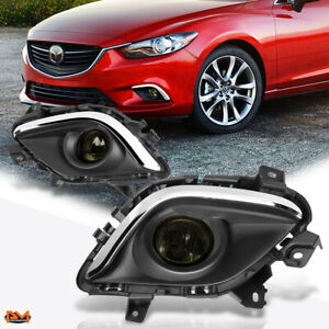 For 14 16 Mazda 6 Smoked Lens Front Driving Fog Light Lamp W Switch Chrome Bezel