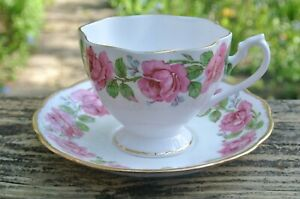 Queen Anne Bone China Cup And Saucer With Pink Roses Made In England