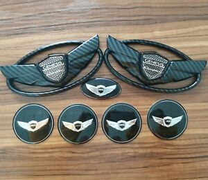 3d Black Carbon Fibre Wing Car Badge Emblem For Hyundai Genesis Coupe 11 15 7pcs