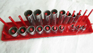 Mac Tools Set Lot Of 18 X Xd 3 8 Drive Sae Sockets W Tray 5 16 To 15 16