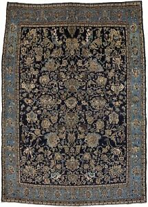 Antique Navy Blue Classic Large 7x10 Hand Knotted Shahreza Oriental Rug Carpet
