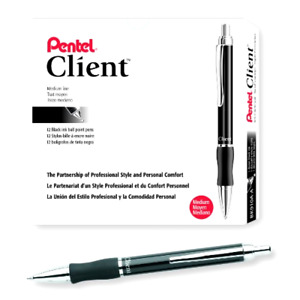 Pentel Client Retractable Ballpoint Pen Medium Line Barrel Black Ink Box Of 12