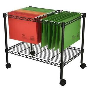 24 Single Tier Metal Rolling Mobile File Cart Trolley F Office Supplies Holder