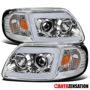 For 1997 2003 Ford F150 Expedition Clear Led Drl Bar Projector Headlights Lamps