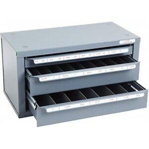 Huot 13590 Three drawer Tap And Drill Bit Dispenser Cabinet For Tap Sizes 6 32