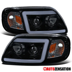 For 1997 2003 Ford F150 Expedition Black Led Drl Bar Projector Headlights Lamps