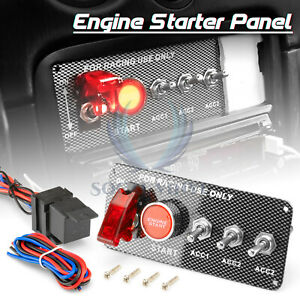 Racing Car 12v Ignition Switch Engine Start Push Button Led Toggle Panel Es07