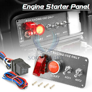 Racing Car 12v Ignition Switch Engine Start Push Button Led Toggle Panel Es05