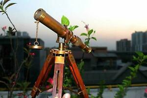 Vintage Brass Telescope Maritime 10 Telescope With Wooden Tripod Stand Gift