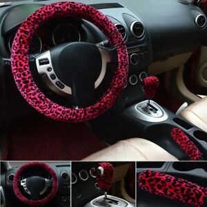 15 In Sexy Leopard Print Plush Car Steering Wheel Cover Warm For Women Girl Lady