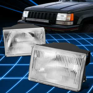For 93 98 Jeep Grand Cherokee Oe Style Pair Chrome Clear Headlight Replacement