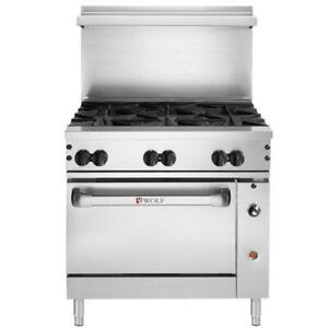 Wolf Natural Gas 36 Manual Range With 6 Burner And Standard Oven 215 000 Btu