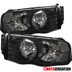 For 2002 2005 Dodge Ram 1500 2500 3500 Black Headlights Head Lamps Pair 03 04