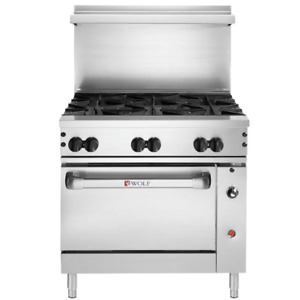 Wolf Natural Gas 36 Manual Range 6 Burners Convection Oven 215 000 Btu