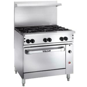 Vulcan 6 Burner 36 Natural Gas Range With Convection Oven Base 215 000 Btu
