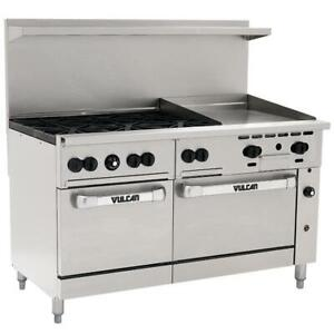Vulcan Natural Gas 60 Range With 6 Burners 24 Griddle 2 Ovens 278 000 Btu