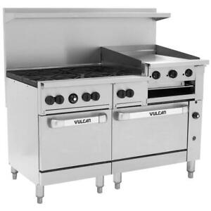 Vulcan 6 Burner 60 Natural Gas Range 24 Griddle 2 Standard Ovens 268 000 Btu