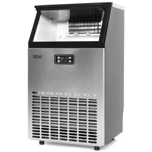 99lbs Hr Freestanding Ice Maker Commercial Built in Ice Cube Stainless Steel