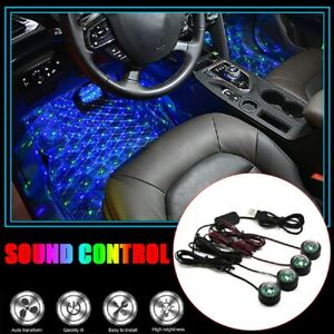 Led Car Interior Atmosphere Neon Lights Strip Music Control Floor Decor Light
