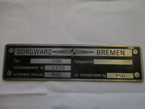 Borgward P 100 P100 Large Nameplate S12