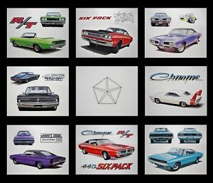 8 Dodge Art Prints 1971 1972 1973 1974 Charger Super Bee Coronet 360 340 318 225