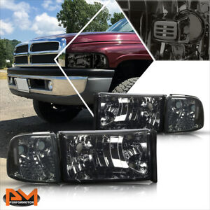 For 94 02 Dodge Ram 1500 3500 Smoked Housing Headlight Clear Corner Signal Lamps