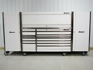 Snap On White 84 Epiq Tool Box Stainless Steel Top Hutch 2 X Side Lockers