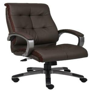 Brown Pewter Double Plush Leather High Back Executive Chair Workstation Unit